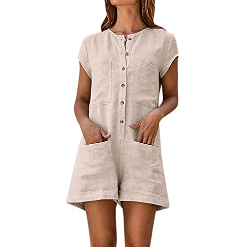 (Button Down Romper Outfits Women Solid Short Sleeve Casual Summer Dungarees Playsuit Vintage Jumpsuit with Pockets Beige)