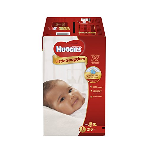HUGGIES Little Snugglers Baby Diapers, Size 1, for 8-14 lbs., One Month Supply (216 Count), Packaging May Vary