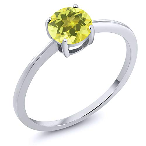 (Gem Stone King 10K White Gold 1.00 Ct Round Canary Mystic Topaz Solitaire Engagement Ring (Size 7))