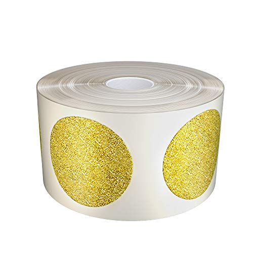 Royal Green Kids Gold Glitter Circle Craft Stickers 25mm Diameter on core Roll - Envelope Seals - 1 inch (2.5cm) Sparkle Adhesive- 425 Pack by Royal Green (Stickers Glitter Circle)