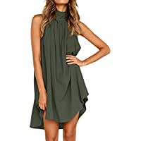 Chanyuhui Women Dresses Clearance,Tunic Tops Lady Halter Solid Hollow Sleeveless Summer Evening Party Mini Dress