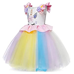 Cotrio Unicorn Costume Fancy Dress Up Flower Girls Dresses Pageant Party Evening Gowns Halloween Tutu Dress