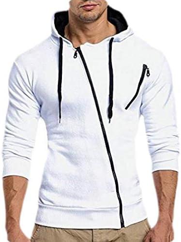 メンズフーディカジュアルロングスリーブ斜めジッパーフード付きスウェットシャツトップ