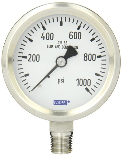 Gauge Wika - WIKA 9768645 Industrial Pressure Gauge, Dry/Liquid-Fillable, Stainless Steel 316L Wetted Parts, 2-1/2