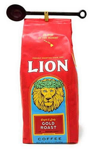 Lion Coffee GOLD ROAST, Ground, MEDIUM-LIGHT Roast, HUGE 24 Ounce BARGAIN BAG with 10-gram Coffee Scoop BRIGHT & -