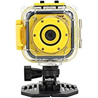 1080p Waterproof Kids Camera Diving Cycling Children Camcorder DV for Boys Girls Birthday Christmas Gift 1.77 LCD Screen (Yellow)