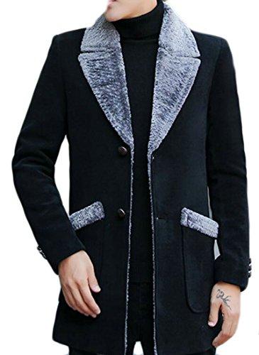 Mens today Sleeve Warm Lapel Black Wool Lined UK Long Pea Fleece Winter Jacket Blend 4rqBA5qp