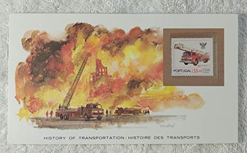 The Snorkel Fire Engine - Postage Stamp (Portugal, 1981) & Art Panel - The History of Transportation - Franklin Mint (Limited Edition, 1986) - Firetruck, Firefighting