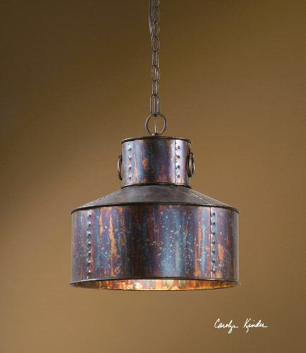 Oxidized Metal 1 Light Round Capped Pendant Industrial