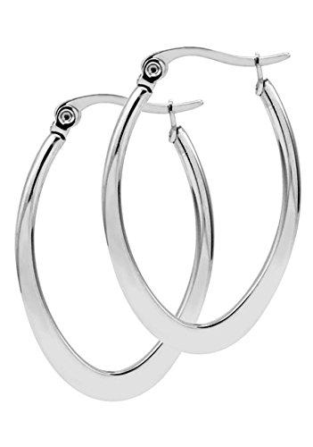 Poonsuk@lucky Stainless Steel Silver Tone U Shaped Hoops Earrings. ()