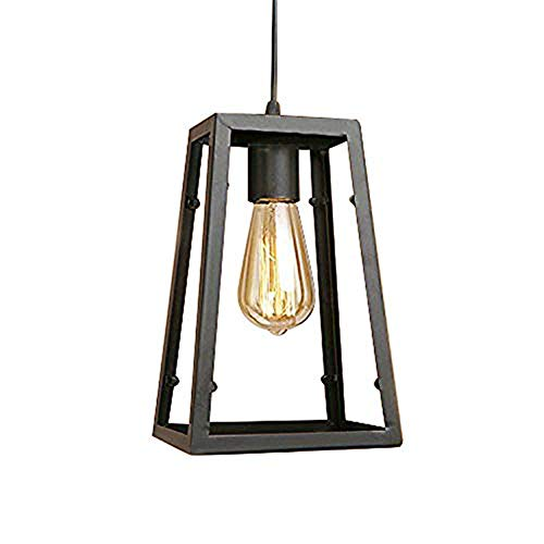 Ruanpu Adjustable Industrial Single Pendant Light with Novelty Lantern Wire Metal Cage for Indoor Lighting Black