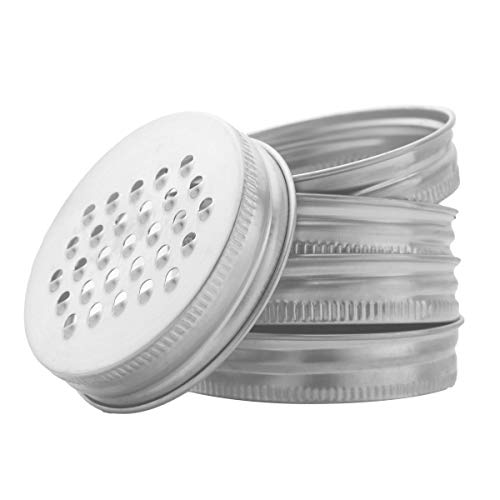 5Pcs Rust Resistant Stainless Steel Shredder Lids for Regular Mouth Mason Canning Drinking Jars Silver One Size