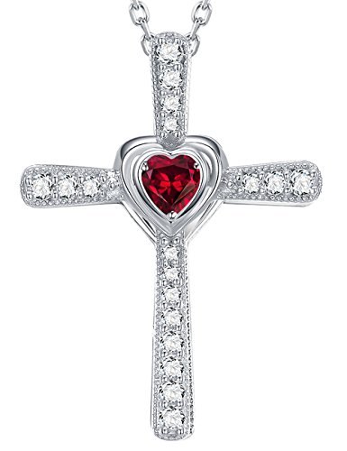 July Birthstone Created Red Ruby Necklace Love Heart Cross Pendant Jewelry Birthday Anniversary Gifts for Her Wife Women Sterling Silver (Chain Ruby Cross)
