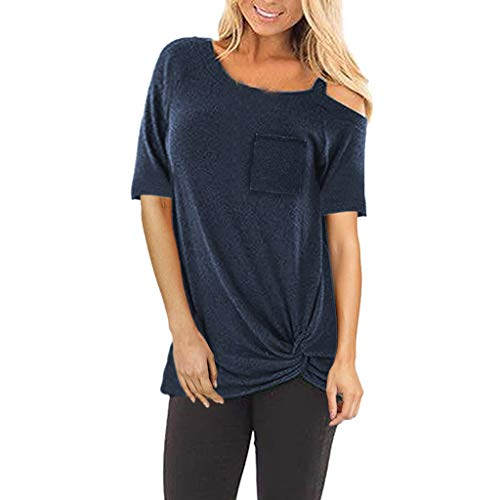 (Lovor Women's Comfy Casual One Shoulder Short Sleeve Side Twist Knotted Tops Solid Blouse Tunic T Shirts with Pocket(Navy,XL))