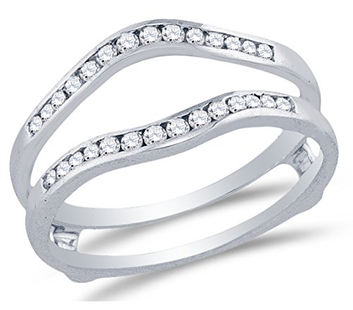 Size 10 - 14K White Gold Round Diamond Ring jacket Wedding Band Ring - Channel Setting - Curved Notched Band (1/4 cttw.) by Sonia Jewels
