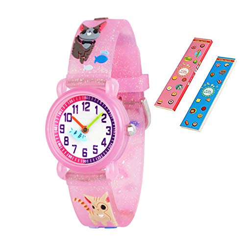 Pink Cat Watch - Toddler Kids Children Watch,3D Cute Cartoon Silicone Band Wristwatches Time Teacher Gifts Watches for Kids Girls Toddlers (Pink Cat)
