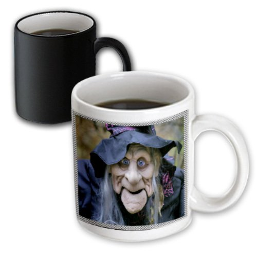 (3dRose Sandy Mertens Halloween Designs - Old Lady Costume with Frame - 11oz Magic Transforming Mug)