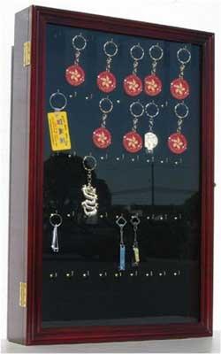Keychain Display Case Wall Mounted Cabinet Shadow Box (Mahogany Finish)
