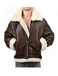 Tom Hardy Dunkirk Jacket Men's Brown Aviator Shearling Flight Leather Coat