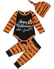 3Pcs Baby Boy Girl Halloween Clothes Pumpkin Dinosaur Bat Halloween Costume Newborn Outfits for Infant Boy 0-18 Months