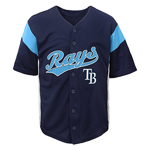OuterStuff MLB Tampa Bay Rays Boys Fashion Jersey, Athletic Navy, (Jersey Boys Tampa Bay)