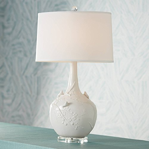 Cottage Table Lamp Sparrow Ceramic White Glaze Vase Oval Shade for Living Room Family Bedroom Nightstand Office - Possini Euro Design