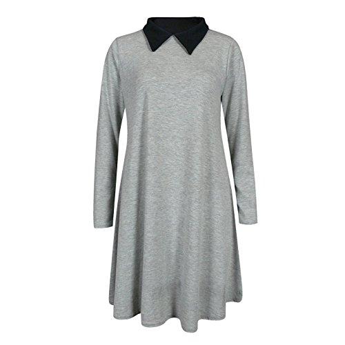 Fashion 4 Less - Vestido - Columpio - Manga Larga - para mujer plateado