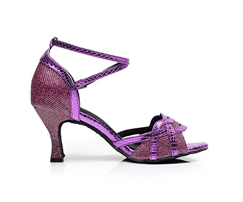 Minishion Qj7027 Womens Glitter Flare Tacco Elegante Scarpe Da Ballo Latino Viola