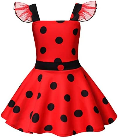 AmzBarley Little Girls Dress Halloween Costumes Birthday Party Outfits Toddler Kids Lace Sleeveless Polka Dot Dresses