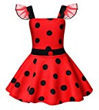 HenzWorld Ladybug Queen Princess Costumes Birthday Dress Up for Little Girls Halloween Party Cosplay Polka Dot 3T Red