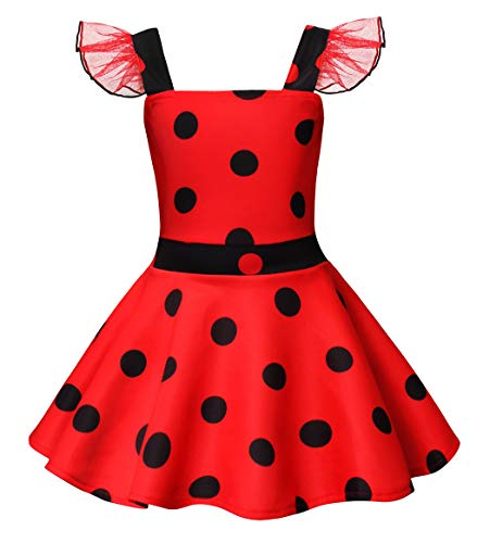HenzWorld Ladybug Costume Dress Girls Princess Birthday Cosplay Party Polka Dot 3t Red -