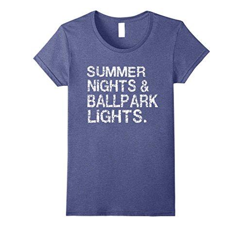 Women's Summer Nights and Ballpark Lights T-Shirts Large Heather Blue