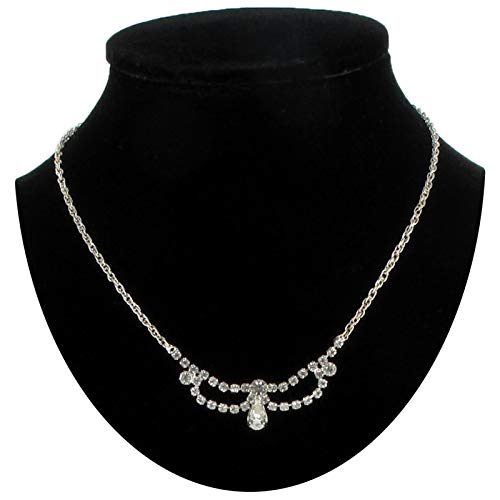Clear Rhinestone Pave Ribbon Bow Chain Pendant For Women