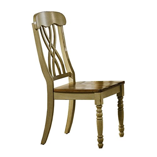 Winners Only Pelican Point Ribbon Back Dining Side Chair Set of 2 in Almond/Green - DP1453SAG