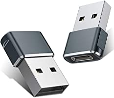 USB C Female to USB Male Adapter (2-Packs), Basesailor Type C to USB A Adapter, Compatible with Laptops, Power Banks,...