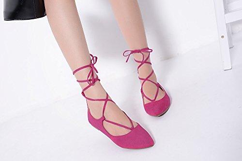 Mila Lady Irma Fashion New Lace Up Point Toe Flat Shoes. Fuchsia wG3bqjSXy