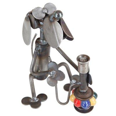 Hookah Dog Recycled Metal Sculpture