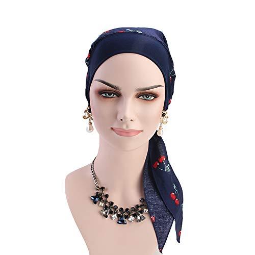 - Vintage Women Elastic Wide Band Head Scarf Cotton Turbans Cherry Print Bonnet Multifunction Night Sleep Hat Chemo Hair Loss Wrap Cap (Cherry)