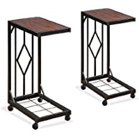 Two Wood Veneer Tv Dinner Snack Tea Tray Tables End Side Sofa Black Storage Caddy Set