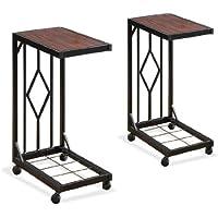 Two Wood Veneer Tv Dinner Snack Tea Tray Tables End Side Sofa Black Storage Caddy Set