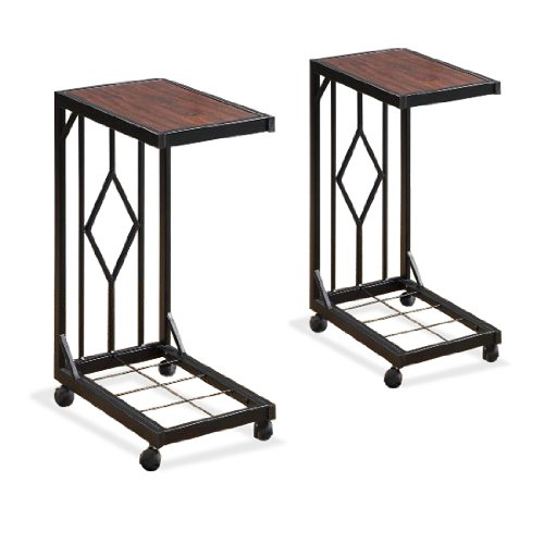 Two Wood Veneer Tv Dinner Snack Tea Tray Tables End Side Sofa Black Storage Caddy Set (Black Snack Table Set)