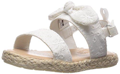 OshKosh B'Gosh Girls' Bruna Espadrille Sandal, White, 7 M US Toddler (Ribbon Espadrille Sandals)