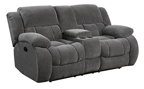 - Coaster Home Furnishings Weissman Motion Loveseat with Cupholders and Storage Charcoal