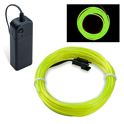 (Lysignal 9ft Neon Glowing Strobing Electroluminescent Light Super Bright Battery Operated EL Wire Cable Cosplay Dress Festival Halloween Christmas Party Carnival Decoration (Green) )