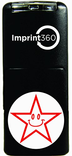 Imprint 360 AS-IMP2001 Round Teacher Stamp - Smiley Face Star, Red Ink, Durable, Light Weight Self-Inking Stamp, 5/8
