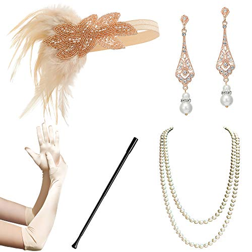 BABEYOND 1920s Flapper Accessories Gatsby Costume Accessories Set 20s Flapper Headband Pearl Necklace Gloves Cigarette Holder ()
