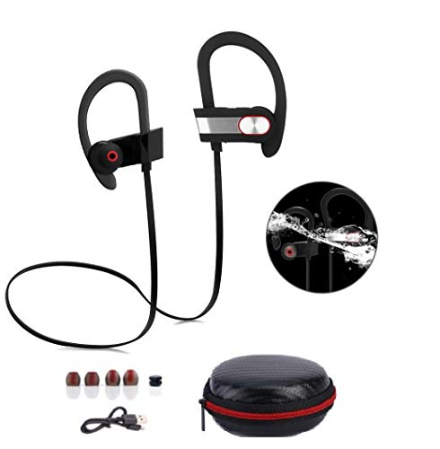 Bluetooth Earphones, Hongyi Wireless Sports Earbuds w Mic, IPX7 Waterproof Stereo Headphones for Gym Running Workout, Cordless Noise Cancelling Hand-free Headsets w Black carry case