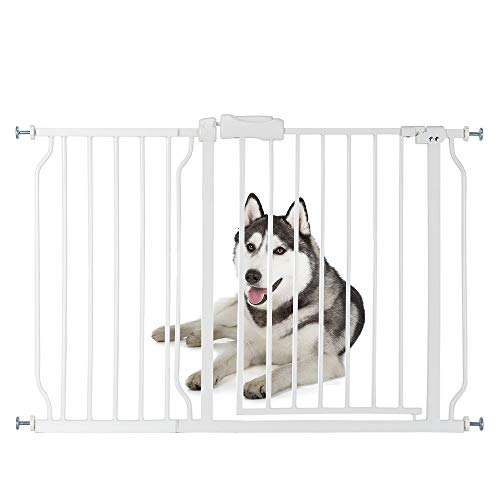 "Bonnlo 47"" W Safety Baby Gate Dog Gate Extra Wide Child Gate with 4 Pressured Adjustment Bolts, Extention Kit & Auto Close Door for Stairs, Doorways and Hallways, 31"" H"