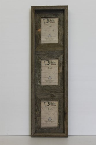 Cheap 4×6 – 2.5″ Wide Reclaimed Rustic Barnwood Vertical Collage Frame – Holds 3 Photos