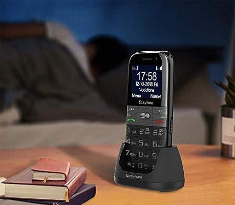 Easyfone Prime A2 - Teléfono Móvil para Mayores con botón SOS y Base cargadora, Negro: Amazon.es: Electrónica
